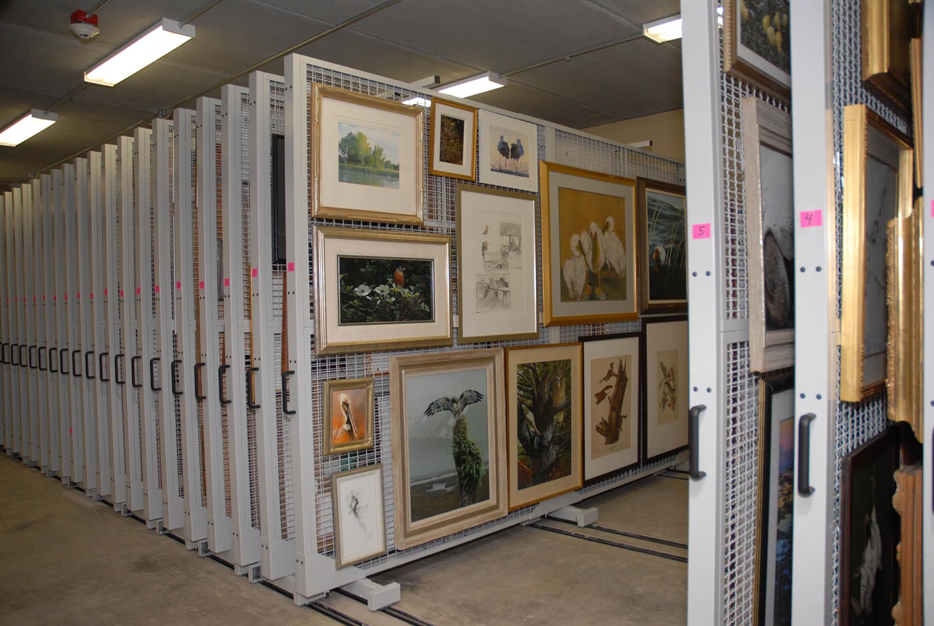 Artwork displayed art storage racks