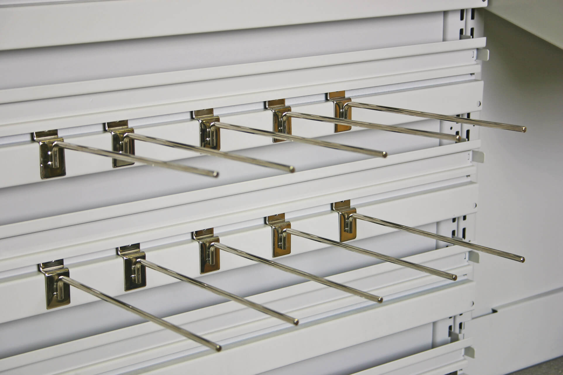 Slat-wall accessories for modular shelving and modular carts letting you hang a wide variety of items
