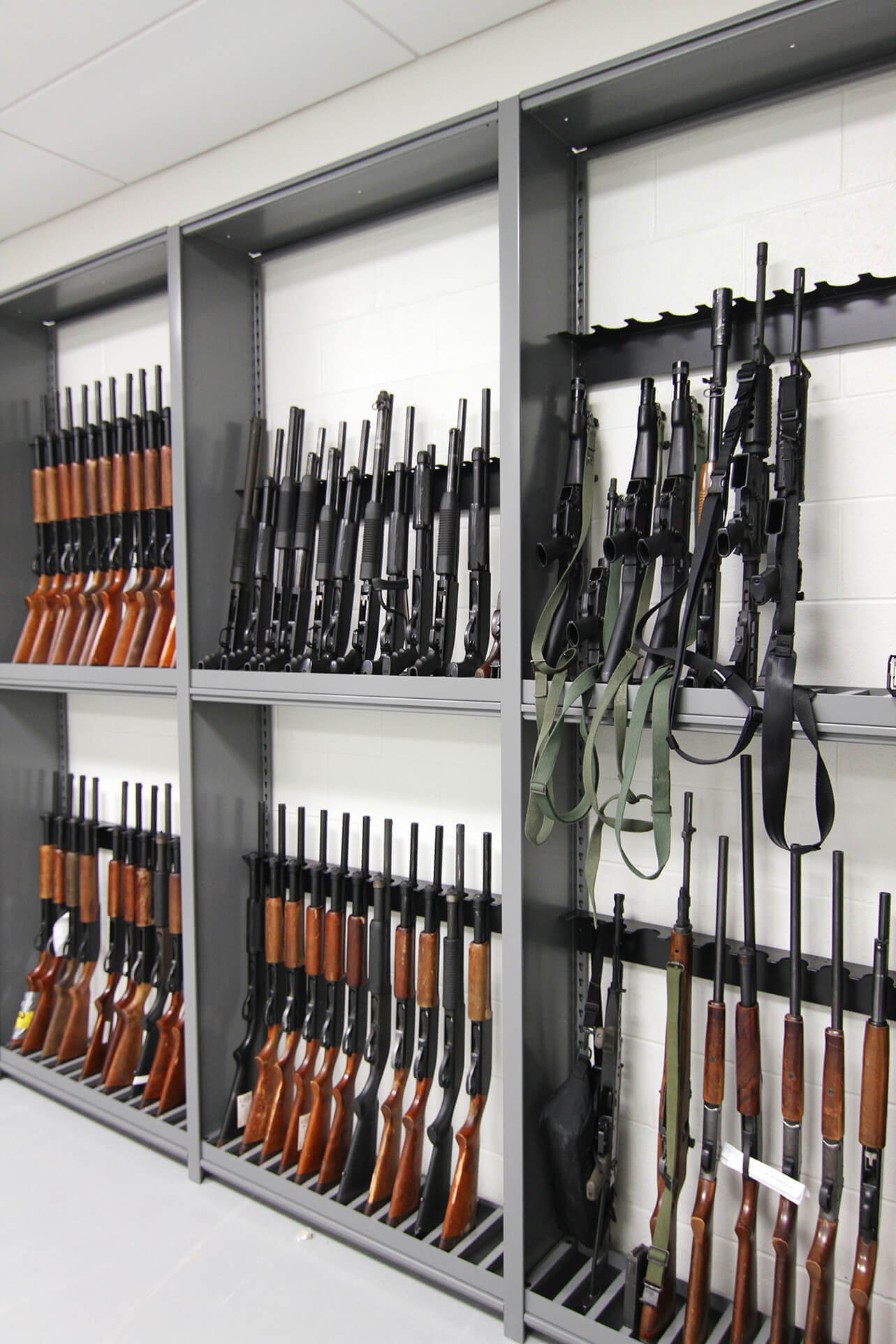Weapons rack holding police department weapons