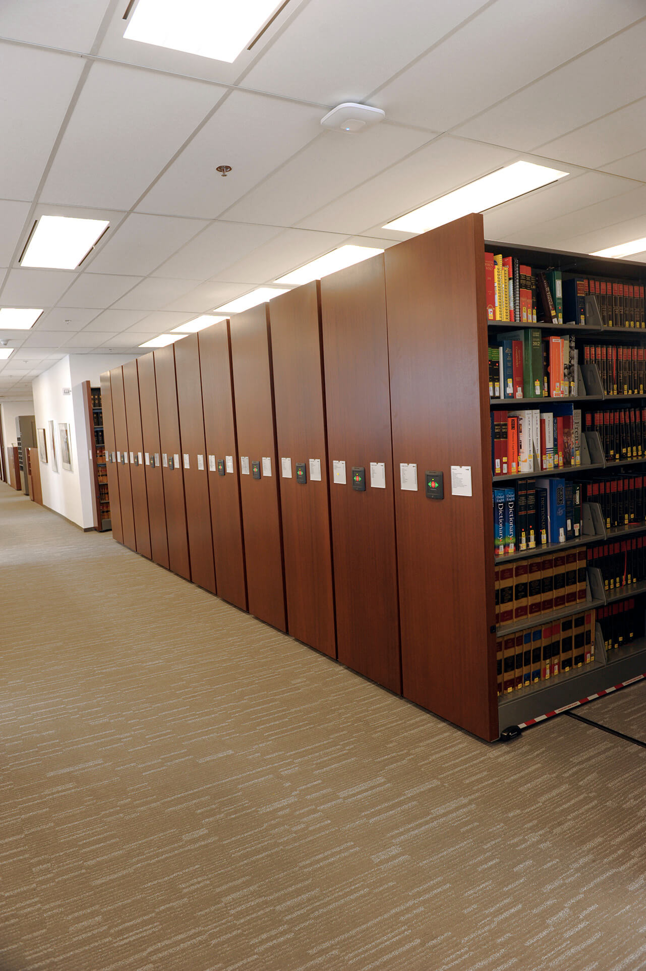 Powered mobile shelving in law firm office
