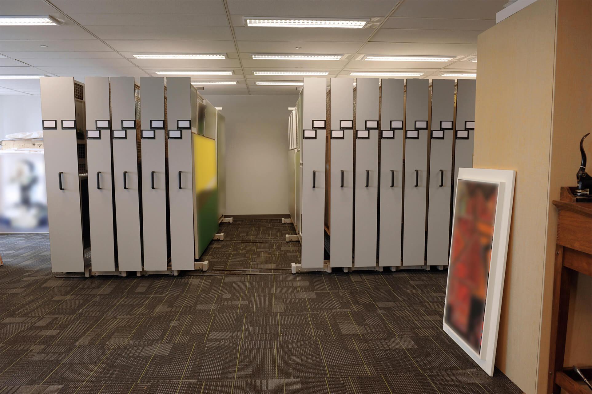 Compact mobile art racks protect fine art at Ontario Bank