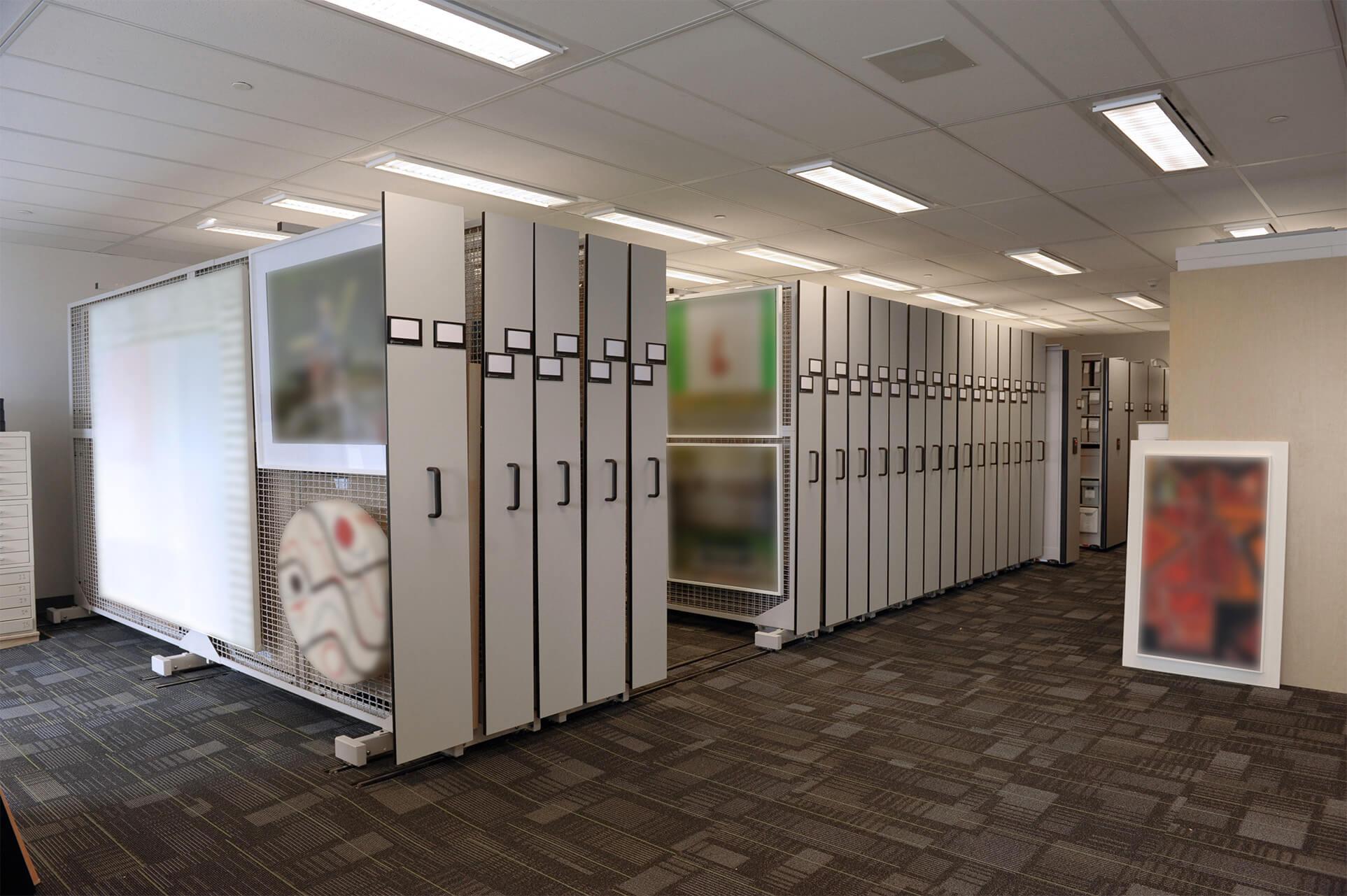 Ontario bank's art collection on mobile art racks