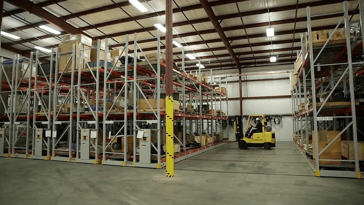 Turbine parts storage on compact mobile industrial racking