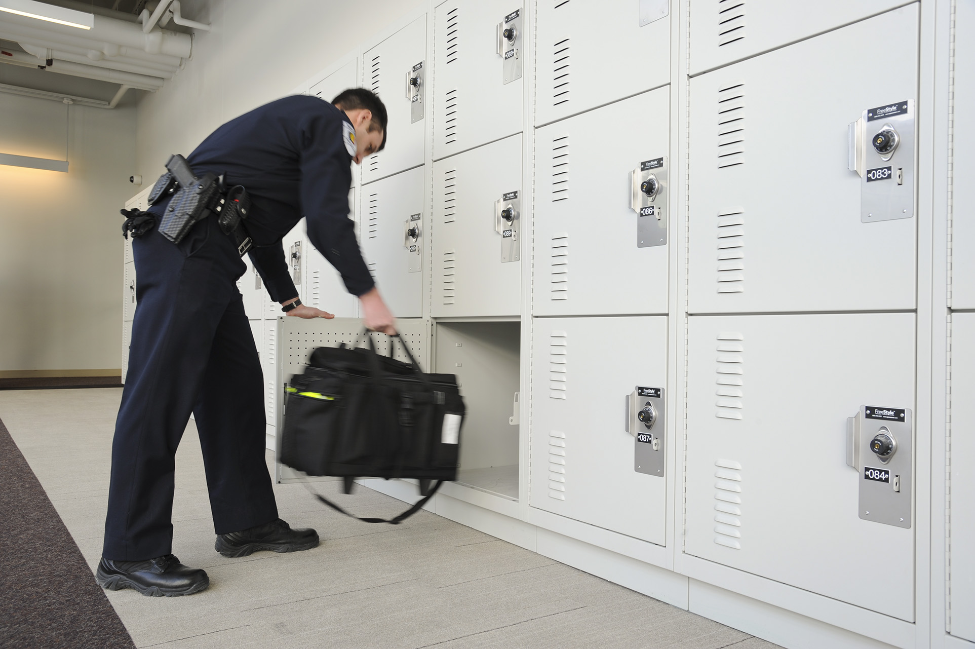 Personal storage lockers with combination lock for security