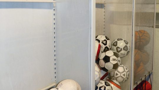 Volleyball, soccer and Basketball storage on compact mobile system