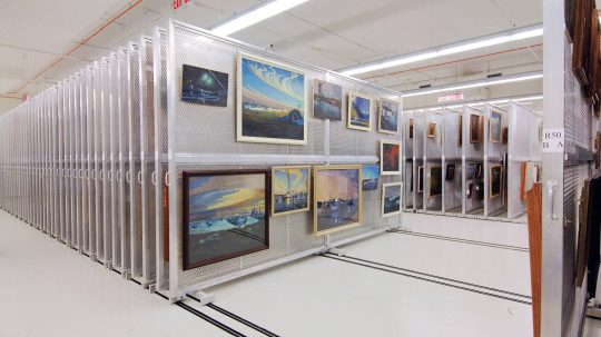 sliding art racks compact storage at Canadian War Museum