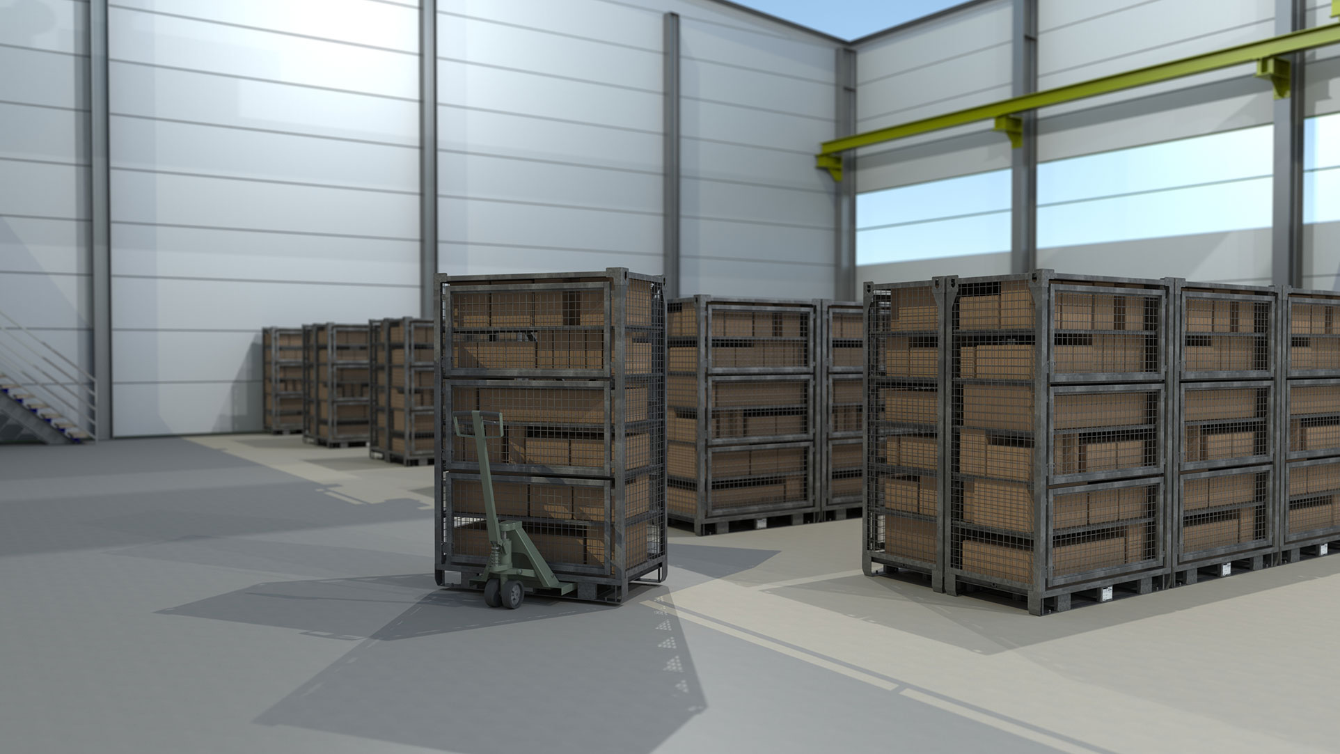 Deployment Lockers Sorted into Aisles in Warehouse