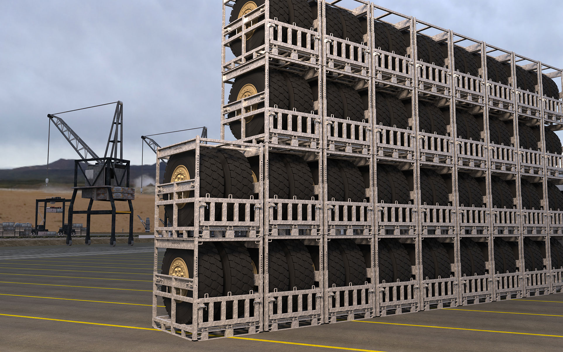 Heavy-Duty Wheel Racks Stacked for Compact Military Storage