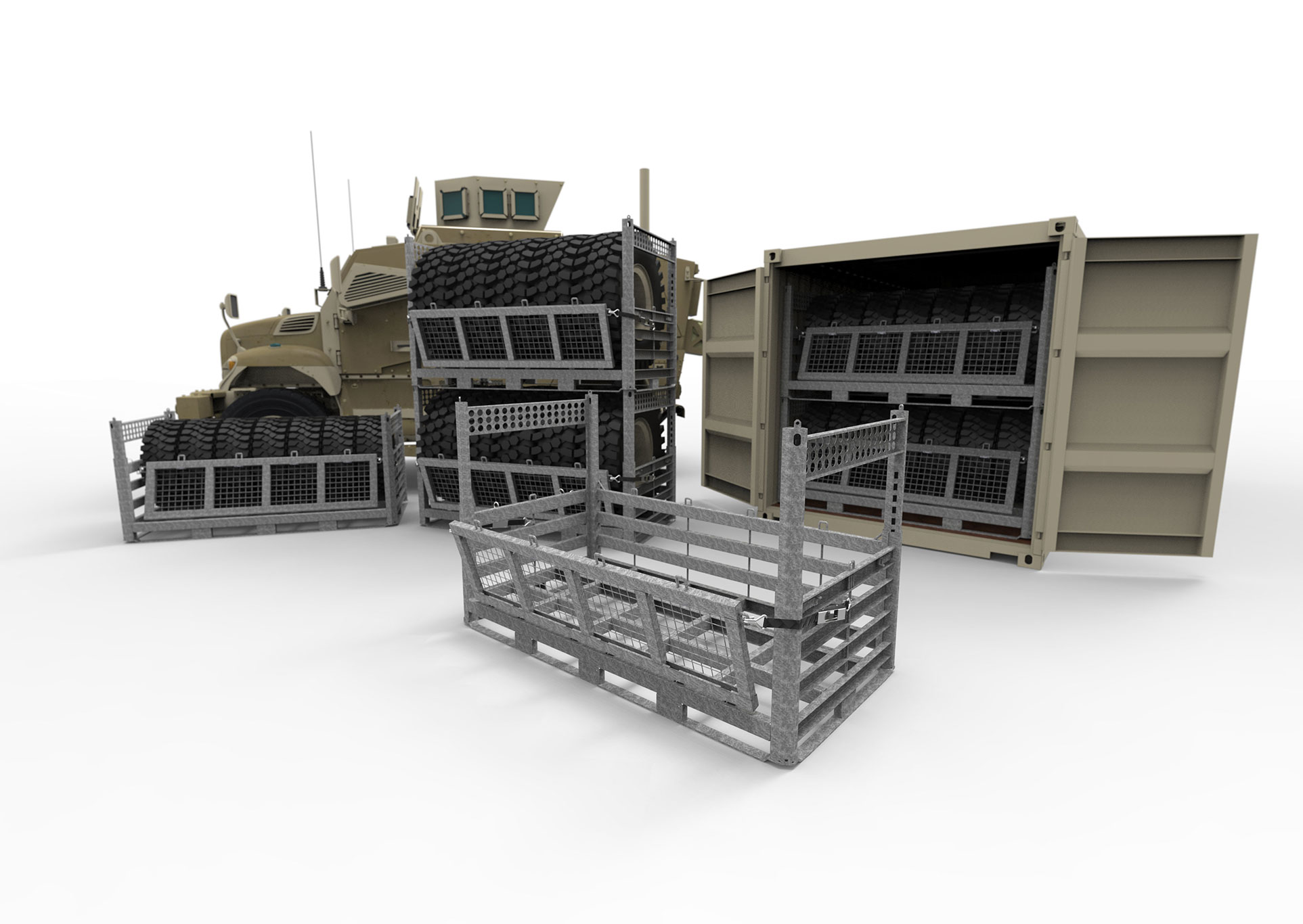 Deployable Wheel Racks for Military Storage