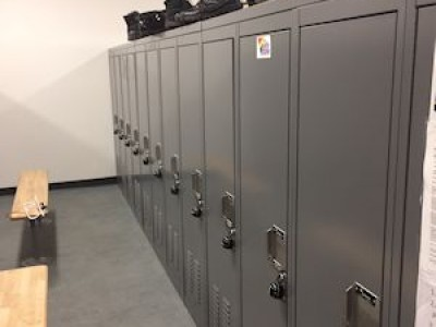 Campus Police Lockers with slanted top for shoes