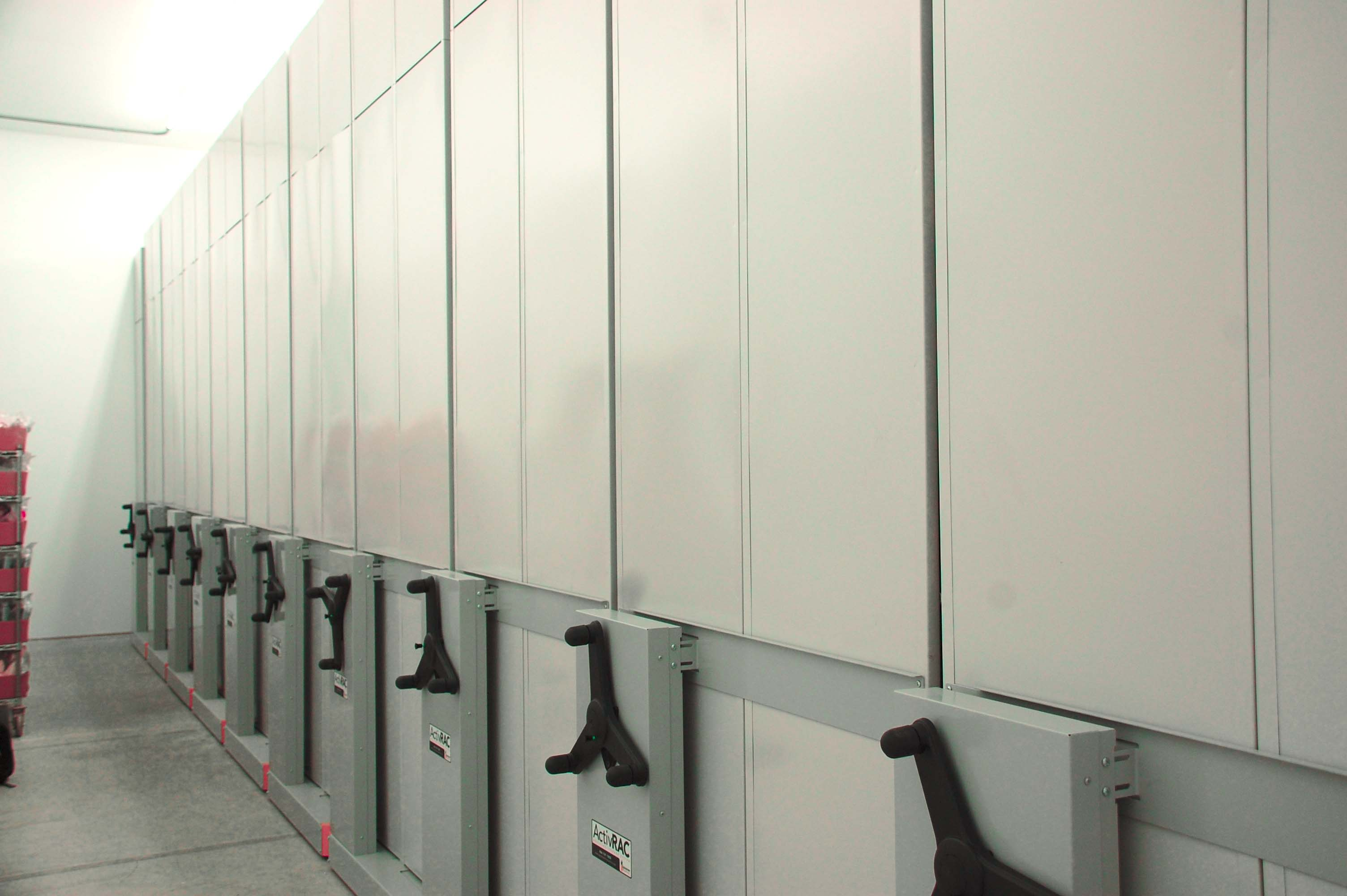Our systems feature carriage and rail systems where the shelving or racking moves side to side and eliminates static aisles