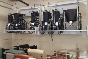 Storing wheelchairs out of the way