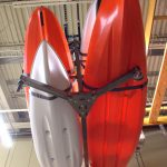 Canoe and Kayak Storage Solution - stored safely above the ground in a retail store