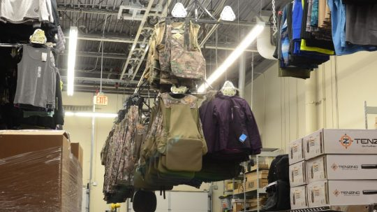 Retail stockroom Overhead Clothing Lift