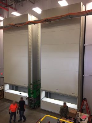 warehouse with vertical lift installed