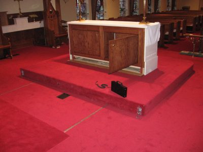 Mobile Carriage System Allows Heavy Church Altar System to be moved as needed