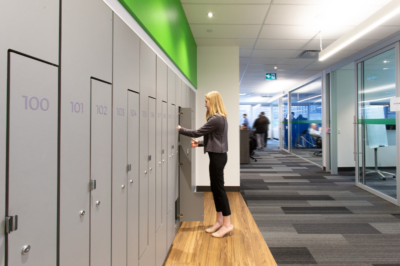office lockers with high pressure laminate doors