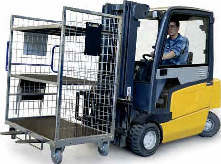 Order picking cart with ability to be transported by forklift
