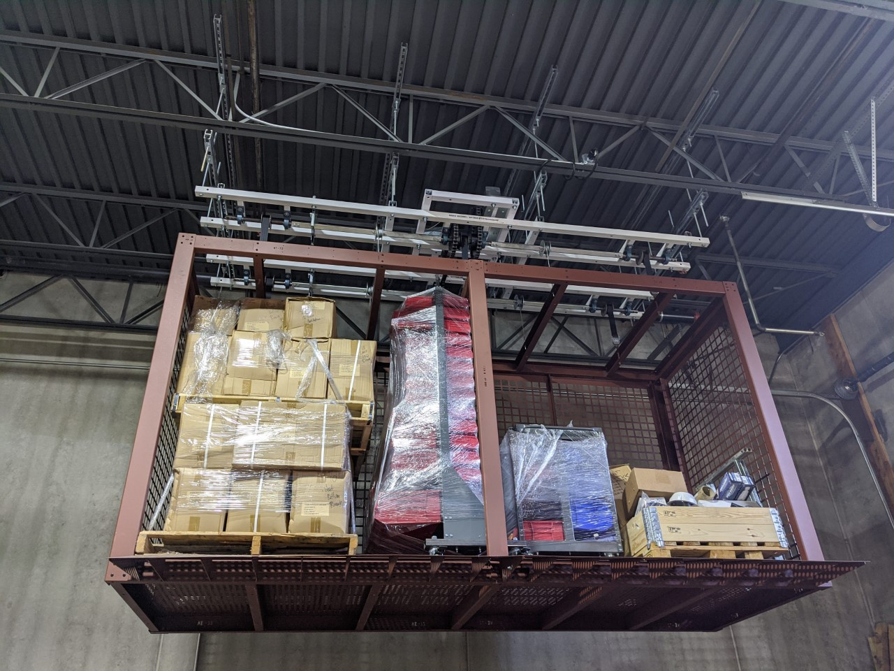 Open overhead storage container