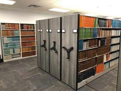Mobile Shelving in a library
