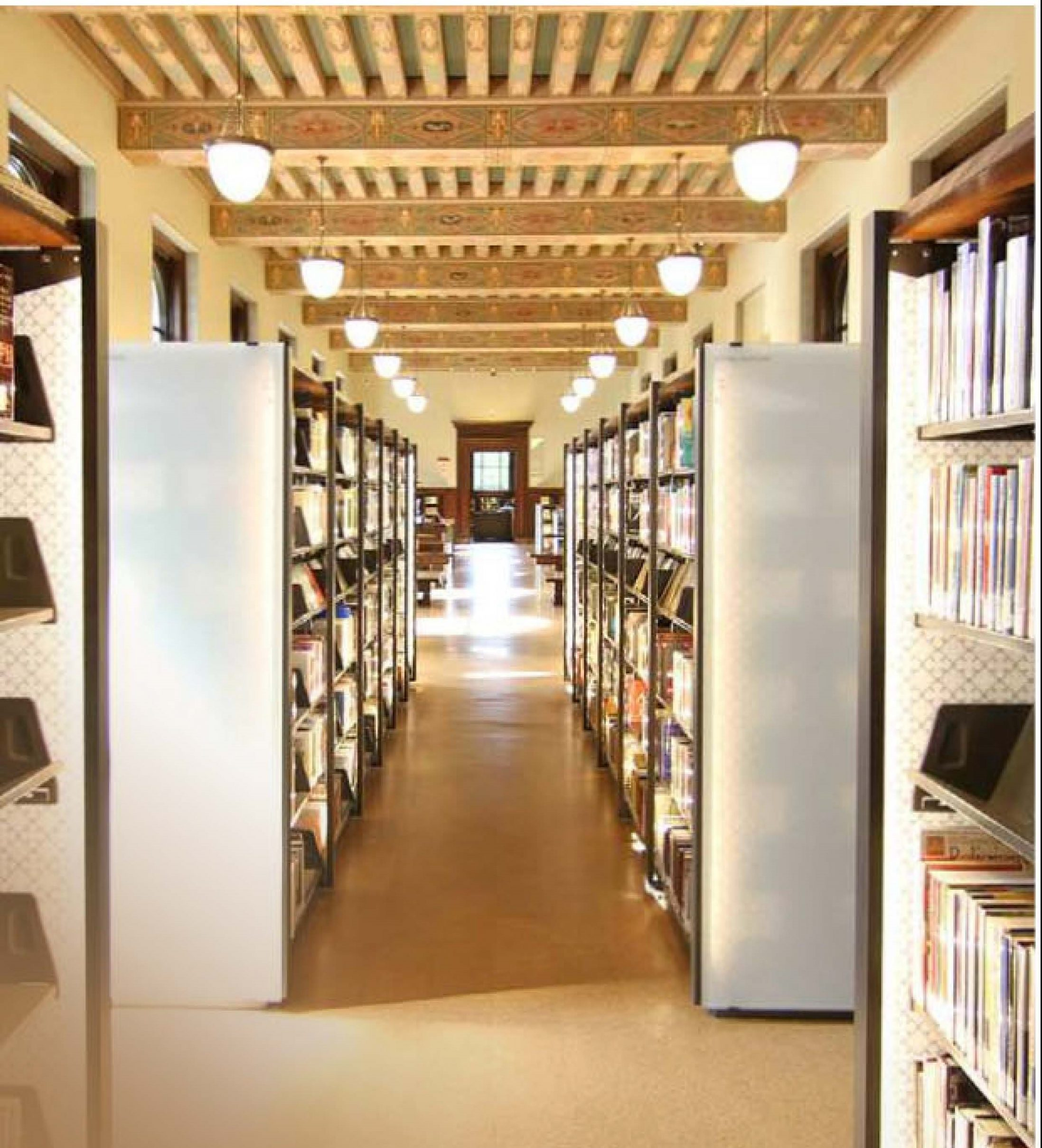 campus library book shelves
