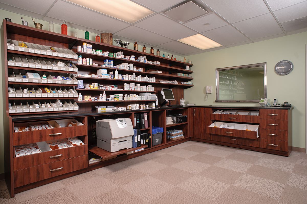One example of Pharmacy Modular Casework
