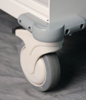 Close up view of wheel and bumper on WRX Wheels modular cart
