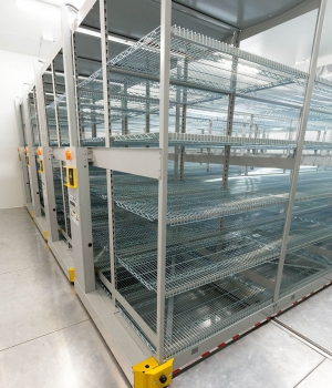 Cooler storage using wire shelving on industrial mobile racking for pharmaceutical company