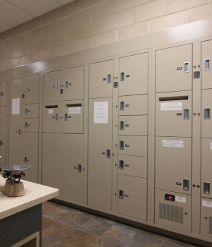 Pass Thru evidence locker with mail slots for multiple drop access