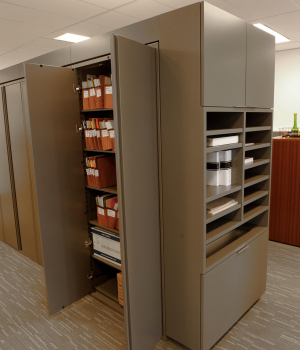 Law firm office filing storage in hinged door cabinet