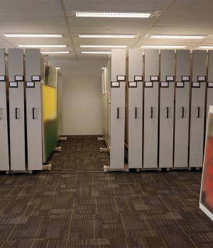 Compact mobile art racks protect fine art at Ontario Bank
