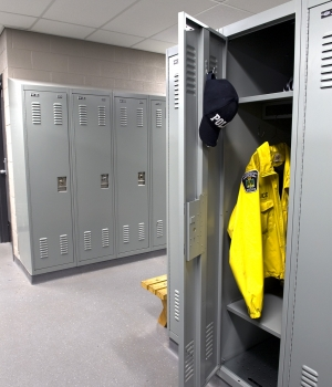 Full door personal storage lockers with shelves at Peterborough Police Department