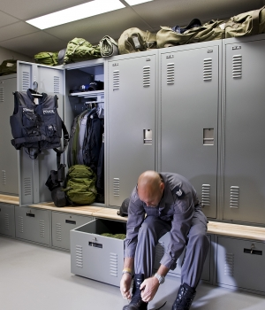 Personal storage lockers with benches at Peterborough Police Department