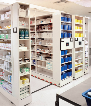 Medical supplies stored on end caps for easy access