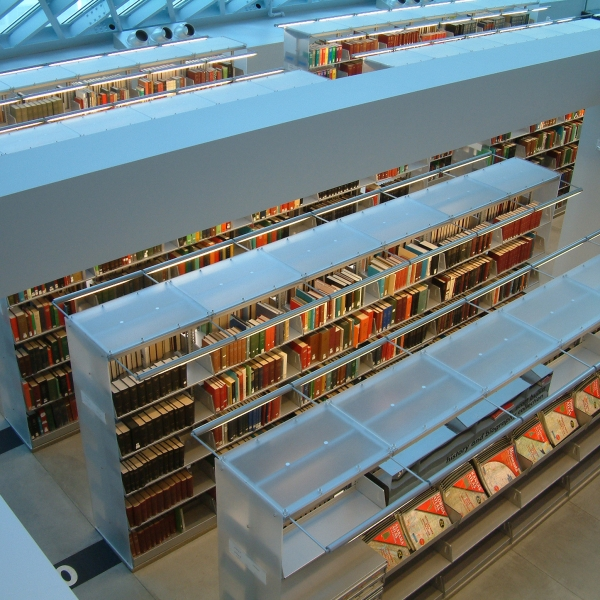 Cantilevered lighting solutions for the library storage
