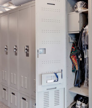 Flexible placement for all components, shelves, inside lockable box, drawers, document holder, hooks, garment hangers in personal storage locker