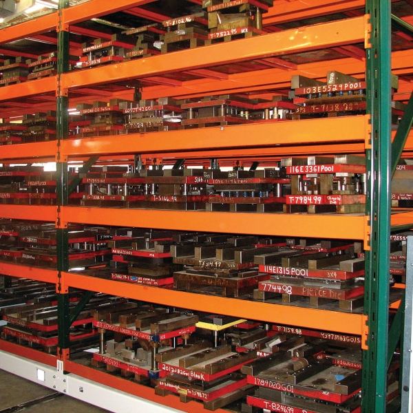 Die storage on compact mobile industrial shelving