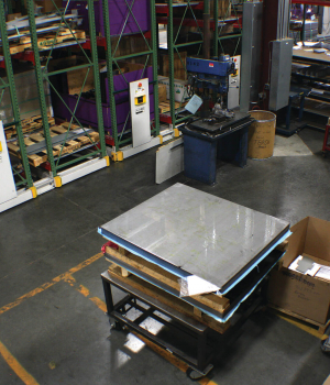 Warehouse supplies on ActivRAC 16P Compact mobile industrial Shelving system
