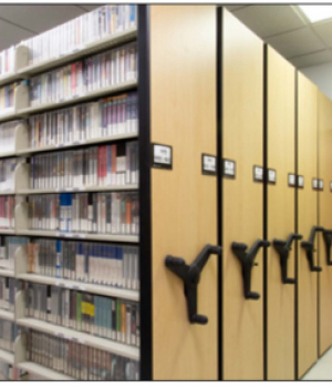 Rows of mobile storage in the library