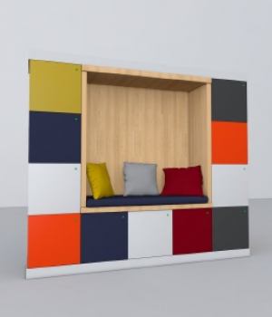 Day lockers with a built in seat with your custom colors