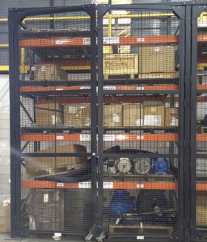 Double hinged pallet rack doors