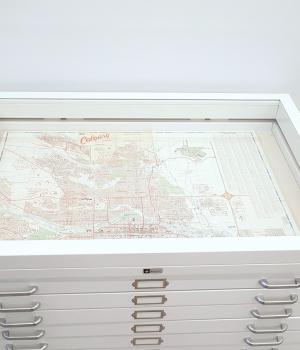 Flat file glass display case