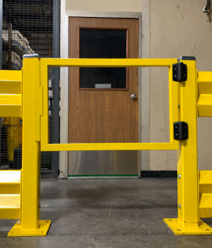 Guard rails with hinged door
