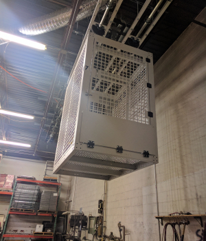 Secure Overhead Rolling Security cage