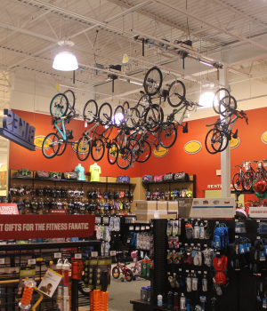 The overhead bicycle lift is a modular design. Each section is eight feet long so it is easy for you to optimize your space.