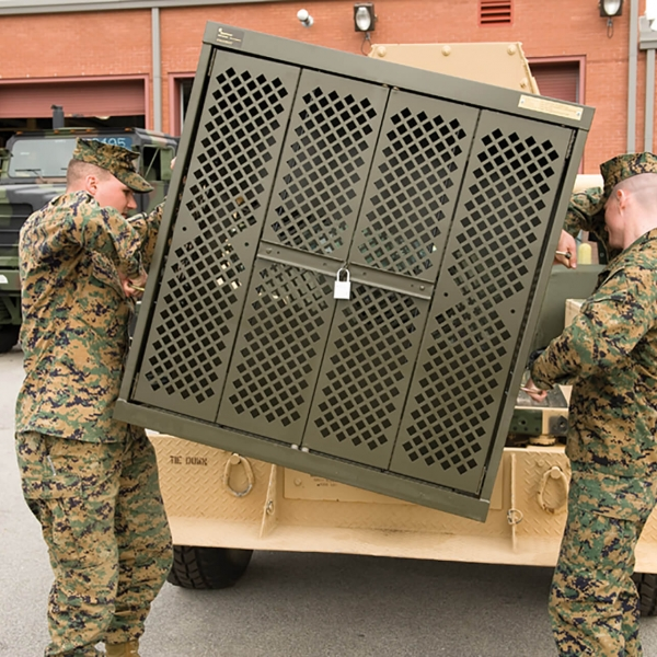 Double handles on the universal weapons rack makes transportability easy